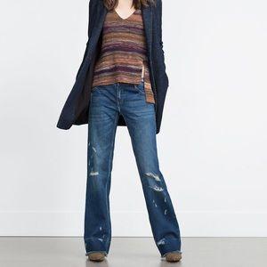Zara Campana Distressed boot jean